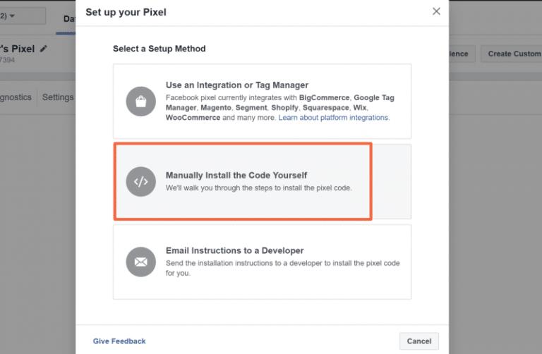 Manually Install Facebook Pixel on website